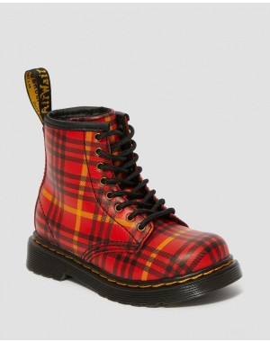 TODDLER 1460 MCMARTEN TARTAN LEATHER BOOTS - RED-MULTI TARTAN BACKHAND STRAW GRAIN
