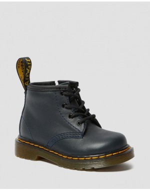 INFANT 1460 LEATHER LACE UP BOOTS - NAVY ROMARIO