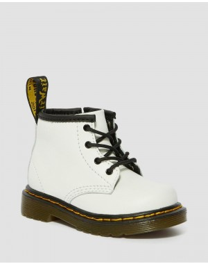 INFANT 1460 LEATHER LACE UP BOOTS - WHITE ROMARIO