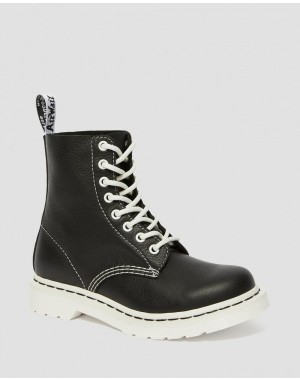 1460 PASCAL VIRGINIA WOMEN'S BLACK & WHITE UP BOOTS - BLACK VIRGINIA