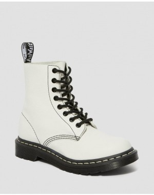 1460 PASCAL VIRGINIA WOMEN'S BLACK & WHITE UP BOOTS - OPTICAL WHITE VIRGINIA