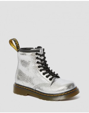 TODDLER 1460 CRINKLE METALLIC LACE UP BOOTS - SILVER CRINKLE METALLIC