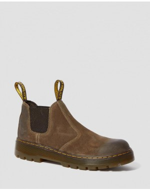 HARDIE SUEDE CHELSEA WORK BOOTS - DARK BROWN WAXY SUEDE WATERPROOF