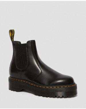 2976 POLISHED SMOOTH PLATFORM CHELSEA BOOTS - BLACK POLISHED SMOOTH