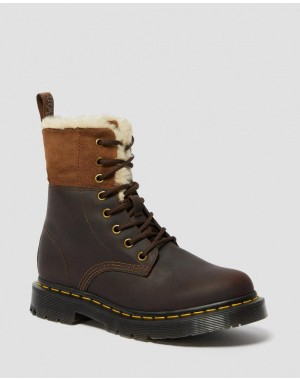 1460 WOMEN'S DM'S WINTERGRIP FAUX FUR LINED BOOTS - DARK BROWN SNOWPLOW WAXY WATER RESISTANT SUEDE