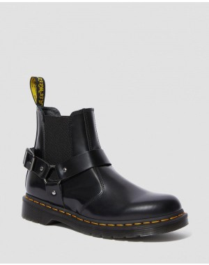 WINCOX SMOOTH LEATHER BUCKLE BOOTS - BLACK POLISHED SMOOTH