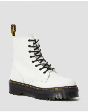 JADON SMOOTH LEATHER PLATFORM BOOTS - WHITE POLISHED SMOOTH