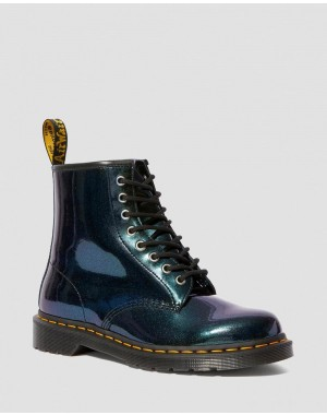 1460 SPARKLE METALLIC LACE UP BOOTS - TEAL SPARKLE