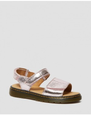 YOUTH ROMI METALLIC LEATHER VELCRO SANDALS - PINK SALT CRINKLE METALLIC