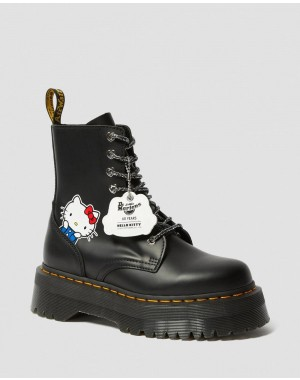 JADON WOMEN'S HELLO KITTY PLATFORM BOOTS - BLACK POLISHED SMOOTH