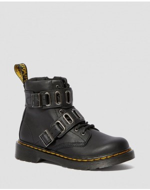 JUNIOR 1460 LEATHER BUCKLE BOOTS - BLACK ROMARIO