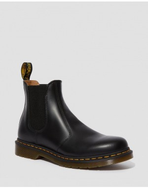 2976 YELLOW STICH SMOOTH LEATHER CHELSEA BOOTS - BLACK SMOOTH