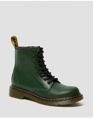 JUNIOR 1460 LEATHER LACE UP BOOTS - DMS GREEN ROMARIO