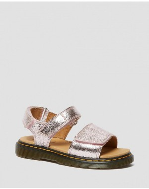 JUNIOR ROMI METALLIC LEATHER SANDALS - PINK SALT CRINKLE METALLIC