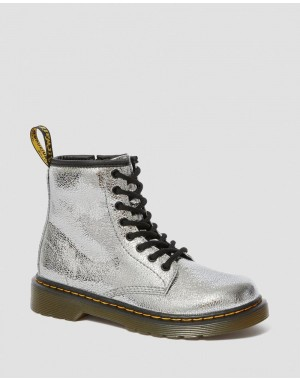 JUNIOR 1460 CRINKLE METALLIC LACE UP BOOTS - SILVER CRINKLE METALLIC