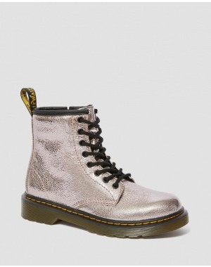 JUNIOR 1460 CRINKLE METALLIC LACE UP BOOTS - PINK SALT CRINKLE METALLIC