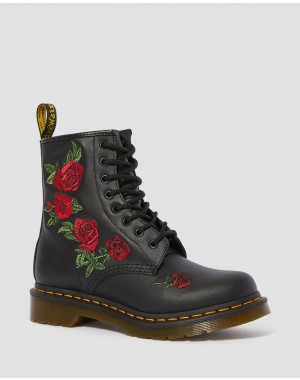 1460 VONDA FLORAL LEATHER LACE UP BOOTS - BLACK SOFTY T