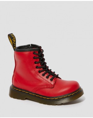TODDLER 1460 LEATHER LACE UP BOOTS - RED ROMARIO