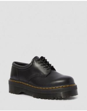 8053 LEATHER PLATFORM CASUAL SHOES - BLACK POLISHED SMOOTH