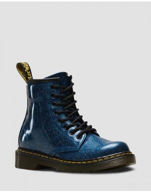 JUNIOR 1460 GLITTER LACE UP BOOTS - BLUE COATED GLITTER