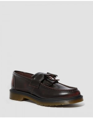 ADRIAN ARCADIA LEATHER TASSLE LOAFERS - CHERRY RED ARCADIA