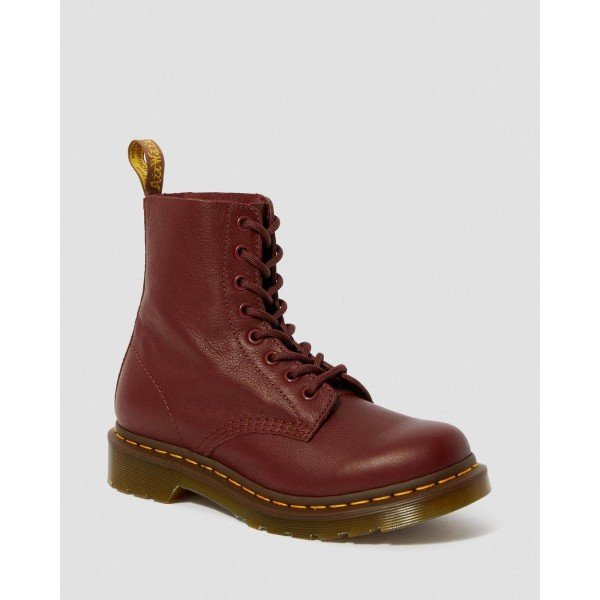 1460 WOMEN'S PASCAL VIRGINIA LEATHER BOOTS - CHERRY RED VIRGINIA