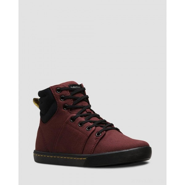 ROZARYA WOMEN'S CANVAS CASUAL BOOTS - OLD OXBLOOD+BLACK CANVAS+FINE CANVAS