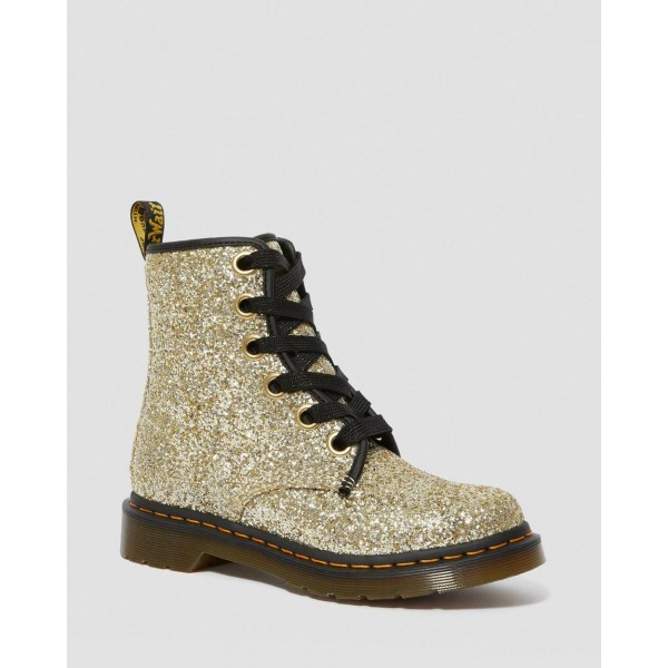 1460 WOMEN'S CHUNKY GLITTER LACE UP BOOTS - GOLD CHUNKY GLITTER