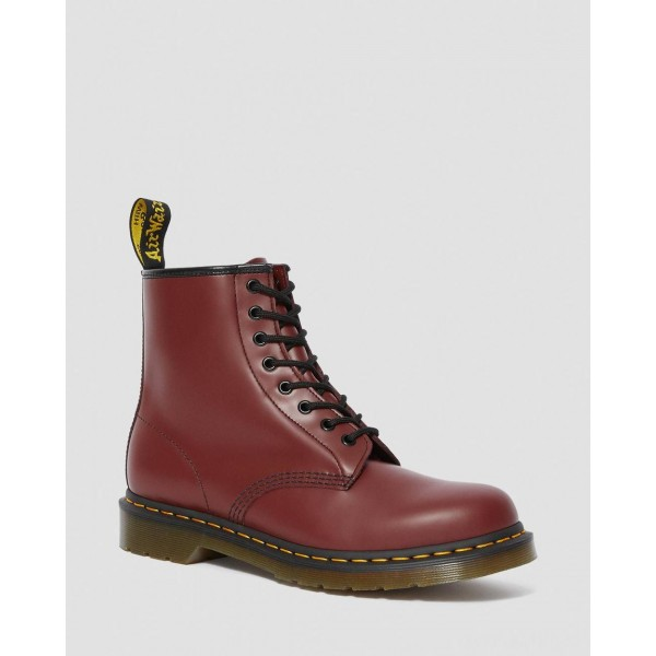 1460 SMOOTH LEATHER LACE UP BOOTS - CHERRY RED SMOOTH