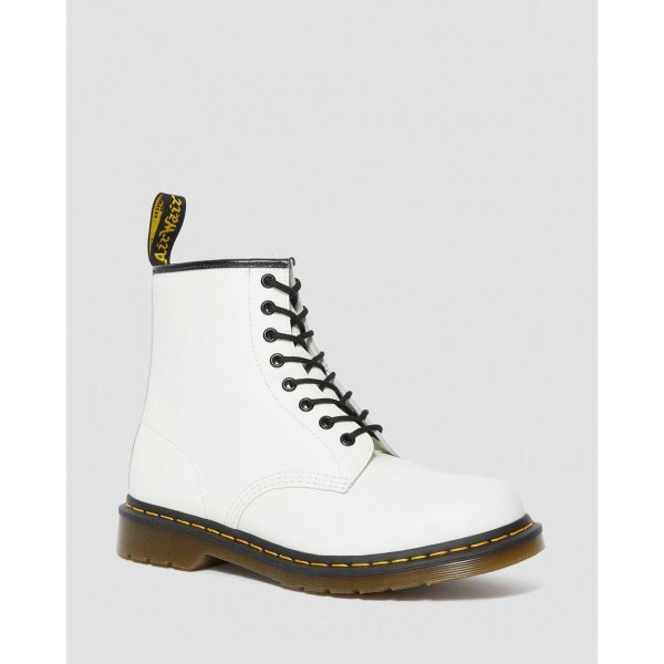 1460 SMOOTH LEATHER LACE UP BOOTS - WHITE SMOOTH