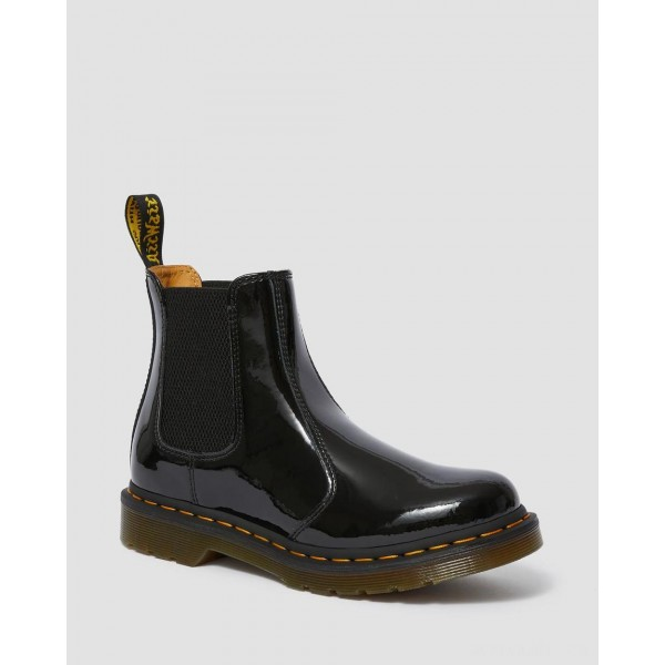 2976 WOMEN'S PATENT LEATHER CHELSEA BOOTS - BLACK PATENT LAMPER