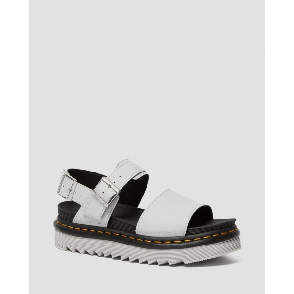VOSS WOMEN'S LIGHT LEATHER STRAP SANDALS - LIGHT GREY HYDRO LEATHER
