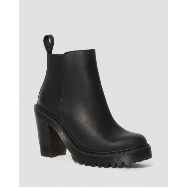 MAGDALENA WOMEN'S LEATHER HEELED CHELSEA BOOTS - BLACK POLISHED WYOMING