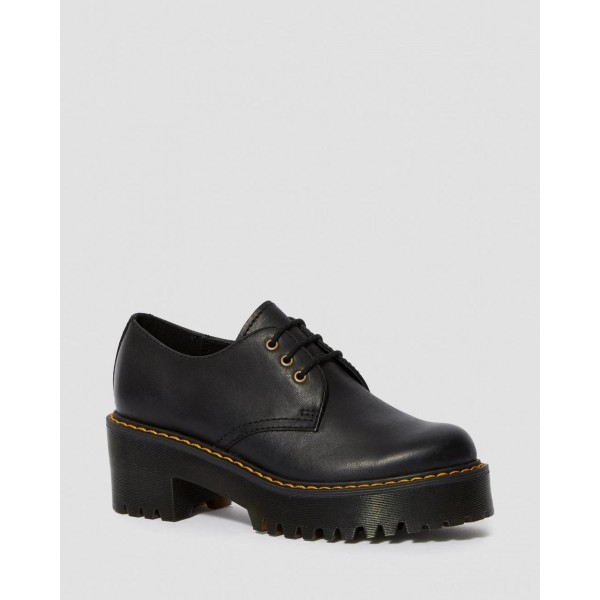 SHRIVER LOW WOMEN'S WYOMING LEATHER HEELED SHOES - BLACK WYOMING