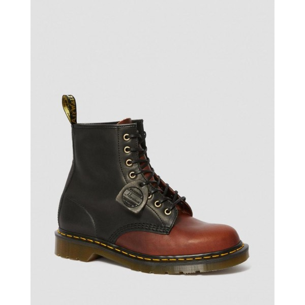 1460 MADE IN ENGLAND HORWEEN LEATHER BOOTS - BLACK+MOCHA DUBLIN
