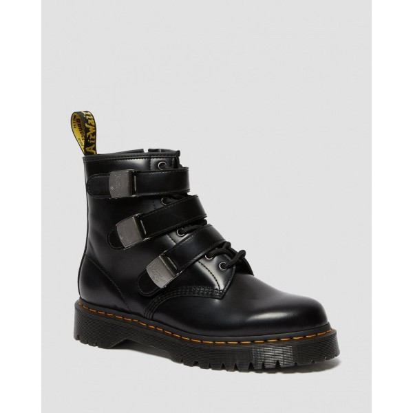 1460 FENIMORE BEX MOTO BOOTS - BLACK POLISHED SMOOTH