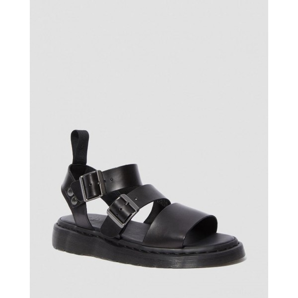 GRYPHON BRANDO LEATHER GLADIATOR SANDALS - BLACK BRANDO