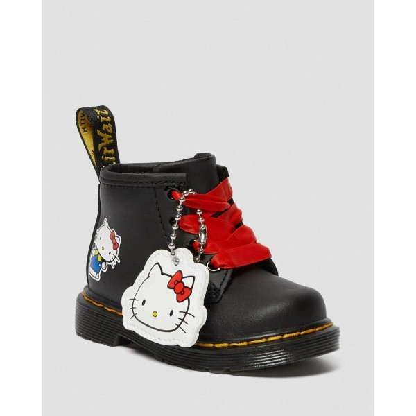 INFANT 1460 HELLO KITTY LEATHER BOOTS - BLACK HYDRO LEATHER