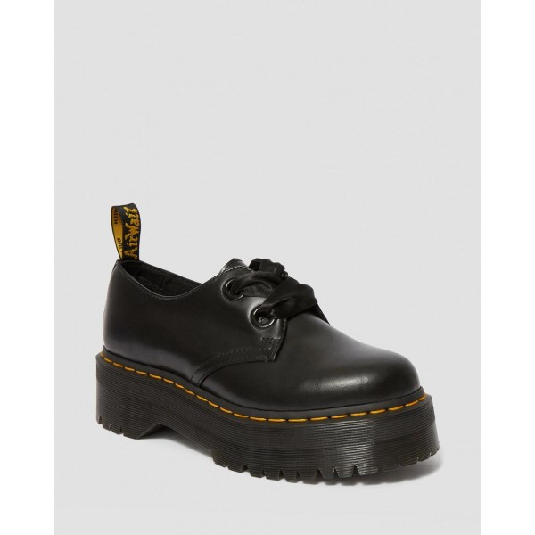 HOLLY WOMEN'S LEATHER PLATFORM SHOES - BLACK BUTTERO