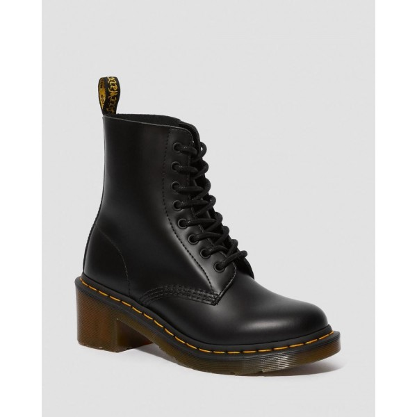 CLEMENCY WOMEN'S SMOOTH LEATHER HEELED LACE UP BOOTS - BLACK SMOOTH