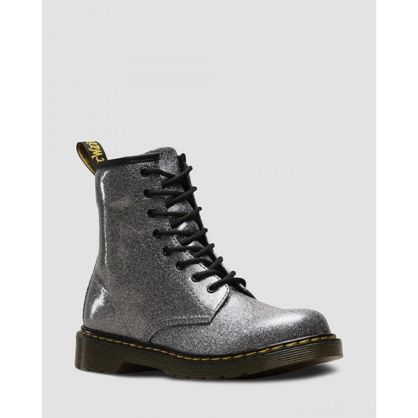 YOUTH 1460 GLITTER LACE UP BOOTS - GUNMETAL COATED GLITTER