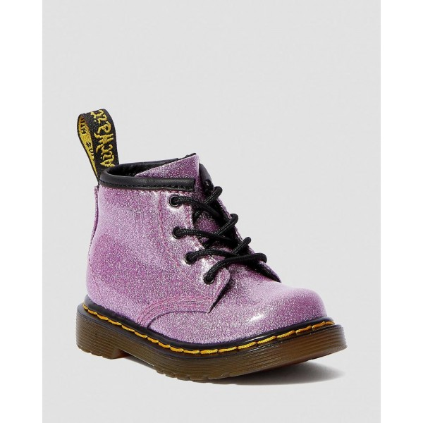 INFANT 1460 GLITTER LACE UP BOOTS - DARK PINK COATED GLITTER