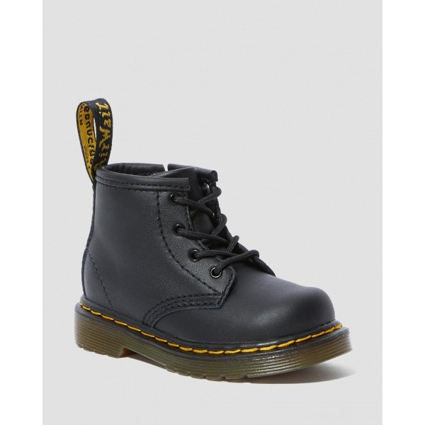 INFANT 1460 SOFTY T LEATHER LACE UP BOOTS - BLACK SOFTY T