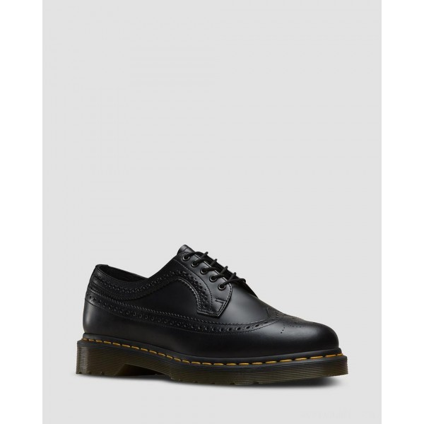 3989 YELLOW STITCH SMOOTH LEATHER BROGUE SHOES - BLACK SMOOTH