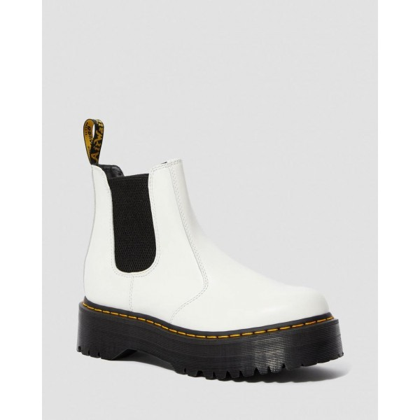 2976 SMOOTH LEATHER PLATFORM CHELSEA BOOTS - WHITE SMOOTH