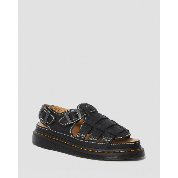 8092 LEATHER FISHERMAN SANDALS - BLACK GRIZZLY