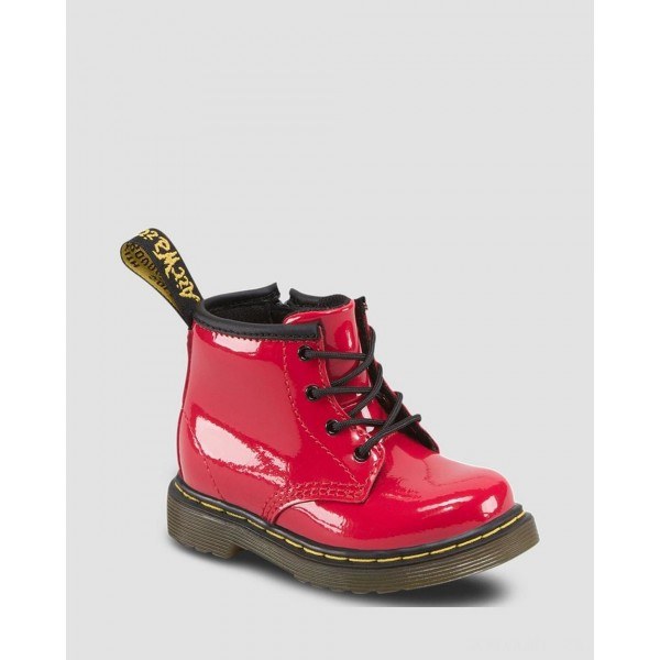 INFANT 1460 PATENT LEATHER LACE UP BOOTS - RED PATENT LAMPER