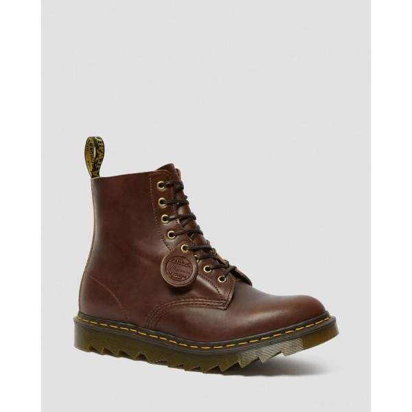 1460 PASCAL MADE IN ENGLAND RIPPLE SOLE BOOTS - DARK BROWN CHROME EXCEL
