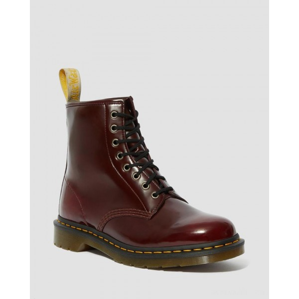 VEGAN 1460 LACE UP BOOTS - CHERRY RED OXFORD RUB OFF