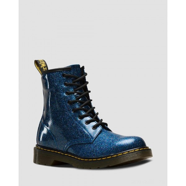 YOUTH 1460 GLITTER LACE UP BOOTS - BLUE COATED GLITTER